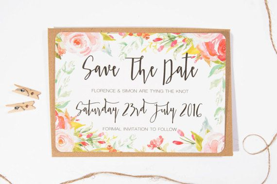Spring Blossom Printed Wedding Save the Date by ElizaMayPrints