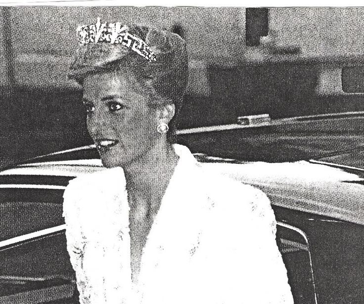 Diana in a rare image wearing the Spencer Honeysuckle tiara.