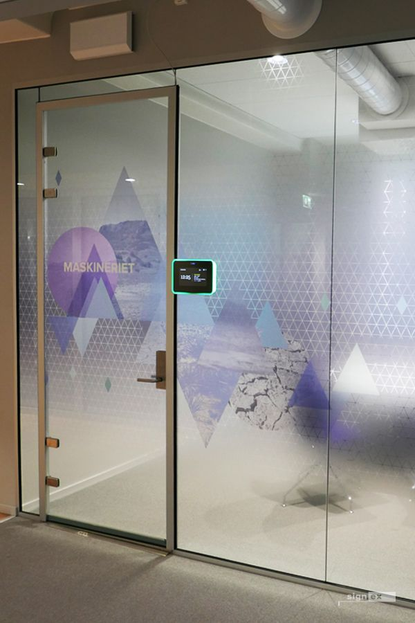 Glass film meeting room with frosted fade and triangle pattern