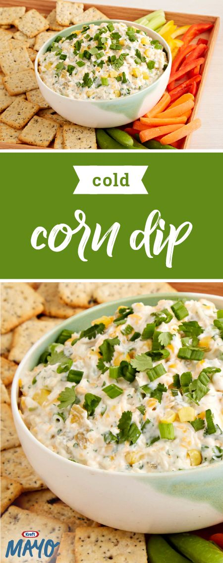 Cold Corn Dip – Liven up the next summer get-together with our fantastically creamy appetizer recipe featuring KRAFT Cheese & Mayo. Whether it's served with your favorite crackers or crisp vegetables, this spread has all the flavor you look for in a party-worthy dish.