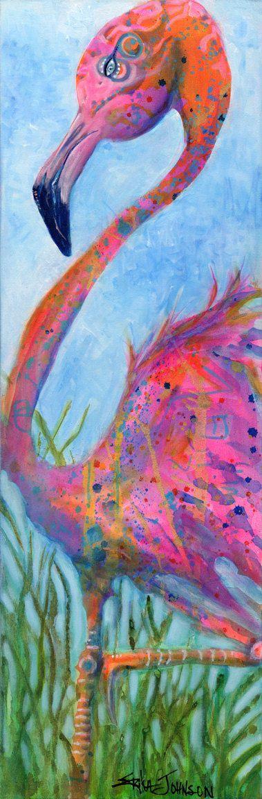 Madame Flaminco-Pink -Flamingo-Giclee art print-bird art-art bird-Hot Pink-Miami-Tropical bird-coastal bird-abstract-modern-contemporary-art
