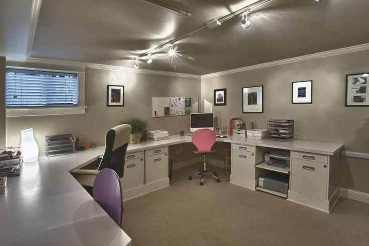 Transitional Home Office with 5-Piece Matte Black Picture Frame Set, Formica Brite White Laminate, Crown molding, flush light