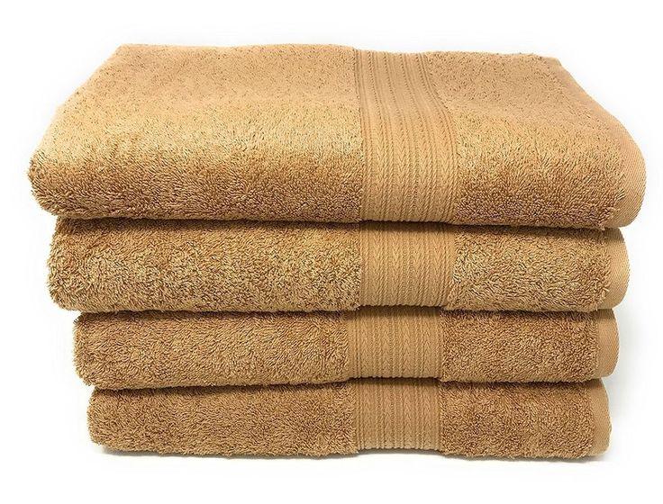 set of 4 camel sand color 16x28 cotton hand towel set