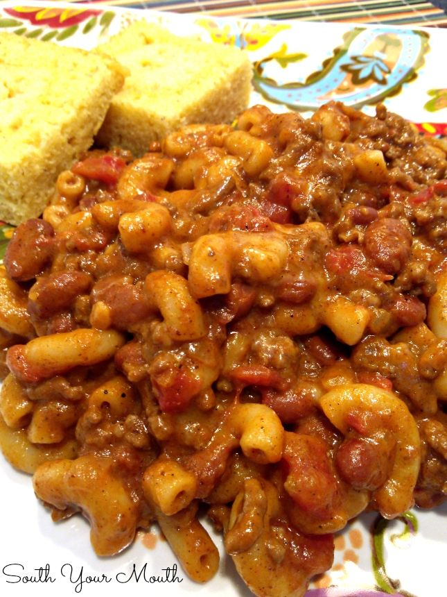 South Your Mouth: Chili Mac... super creamy, cheesy, spicy, hearty comfort food!