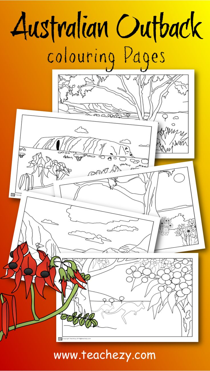 "Australian Outback colouring pages. Includes Uluru, MacDonnell Ranges, flannel flowers, Sturt""s desert flower and more.  www.teachezy.com www.earlychildhoodteachezy.com"