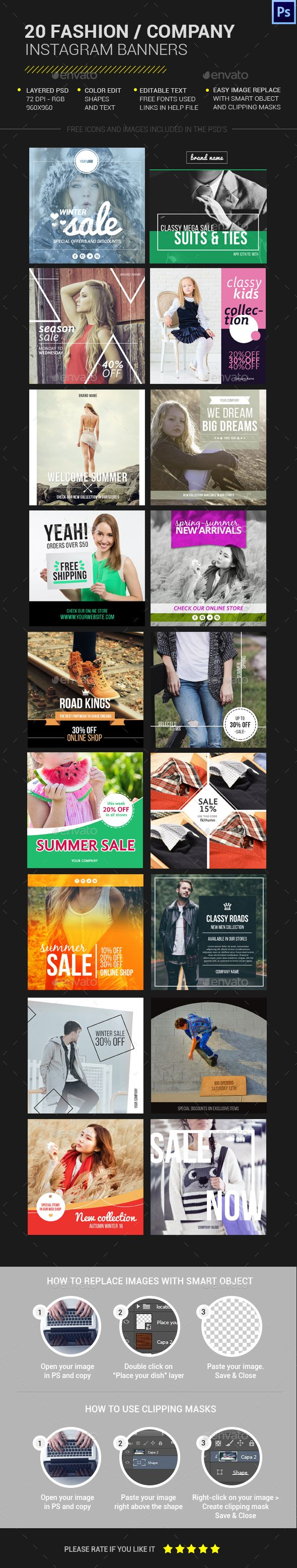 20 Fashion Instagram Banners Template PSD. Download here: http://graphicriver.net/item/20-fashion-instagram-banners/15612534?ref=ksioks