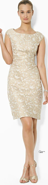 Just gorgeous. Ralph Lauren ● Beige Cap Sleeve Jacquard Dress via @theatoria. #RalphLauren #dresses