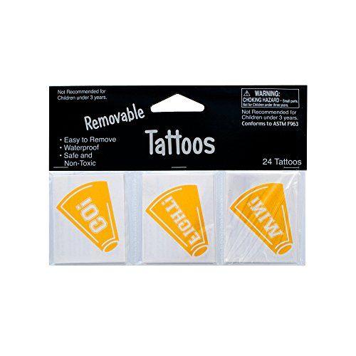 Kole Imports KK924 Removable Yellow Cheer Tattoos - http://tattookits.co/kole-imports-kk924-removable-yellow-cheer-tattoos/