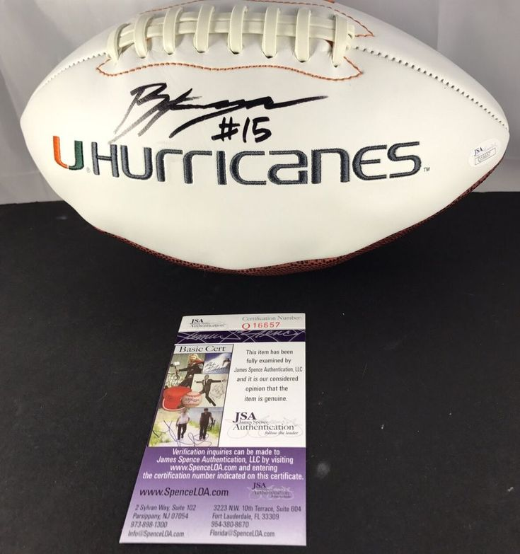 BRAD KAAYA signed Football MIAMI HURRICANES Canes White Panel JSA Authenticated #MiamiHurricanes