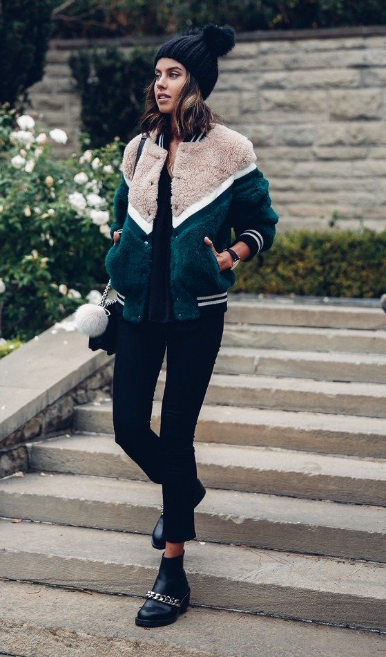 Fuzzy ESSENTIEL ANTWERP faux fur bomber { similar here } | AYR The hi-rise skinny pants | EUGENIA KIM Mimi pom pom beanie | GIVENCHY Laura chain-trimmed ankle leather boots | CHANEL bag | Adornmonde bag charm { similar here & here } Fashion Look by...