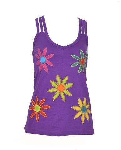 Summer Sleeveless Spaghetti Strap Tops With Flower Patches.