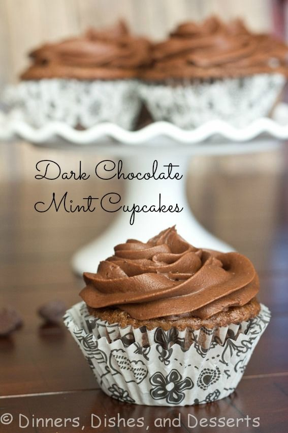 Dark Chocolate Mint Cupcakes from @Dinners, Dishes, and Desserts - This decadent dessert recipe is nice for St. Patrick's Day or any time...