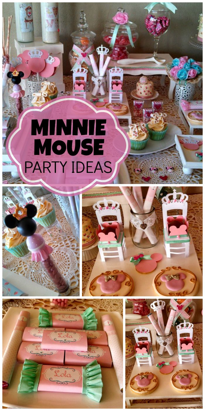 A lovely girl birthday party with a pastel Minnie Mouse theme and pretty decorations! See more party ideas at CatchMyParty.com!