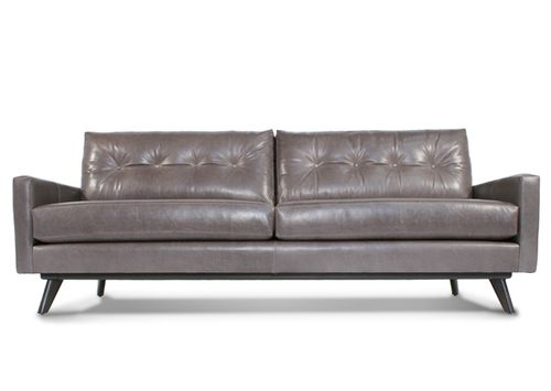 Flexsteel Sofa Gray Leather l Fillmore Leather Sofa l Thrive Furniture l Handmade Midcentury Modern l Made in America