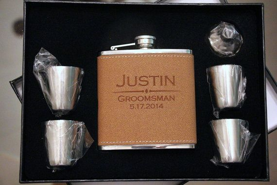 Customized Leather Flask Set, Personalized Wedding Gift, Groomsmen Gifts, Personalized Flask, Wedding Presents, Will you be my Groomsman?