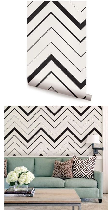 Chevron Black Peel And Stick Wallpaper   Wall Sticker Outlet