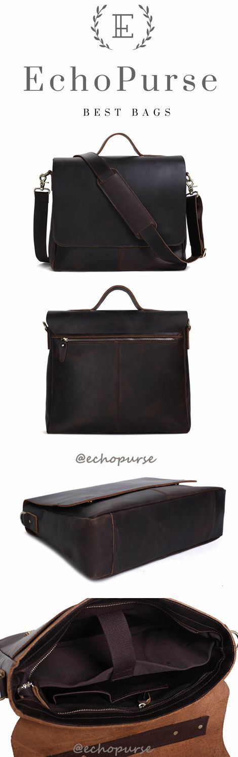 Dark Brown Leather Messenger Bags, Leather Briefcase, Shoulder Bags For Men 7108