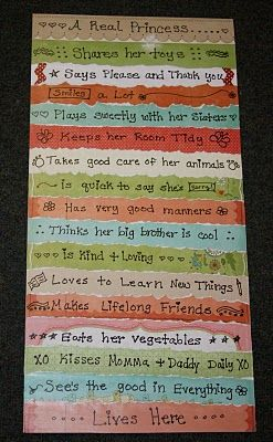 "Princess Room Decor idea for canvas - ""A real Princess ...."" and people can fill in some of their own ideas. Also offer the sayings listed: ""Shares her toys, says please and thank you, smiles a lot, plays sweetly with her sisters, keeps her room tidy, takes good care of her animals,... etc."""
