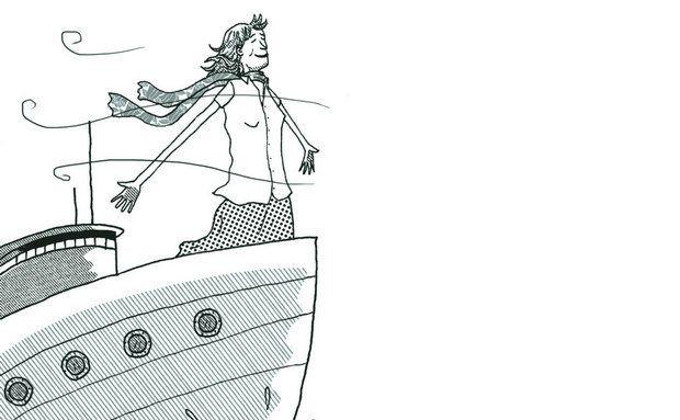 Mulher idosa em navio