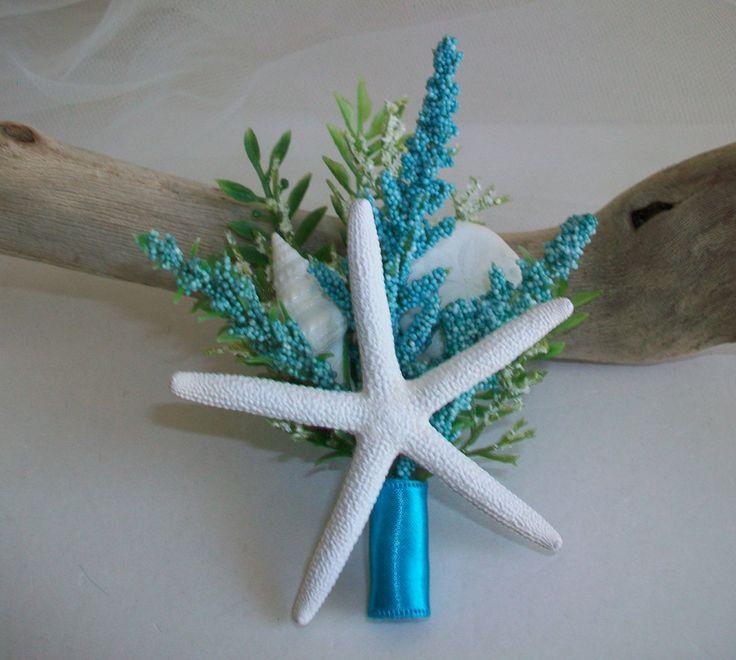 Beach Theme Wedding Starfish Boutonniere Corsage, Starfish Shell Turquoise Floral Boutonniere Corsage Pin by SeashellBeachDesigns on Etsy