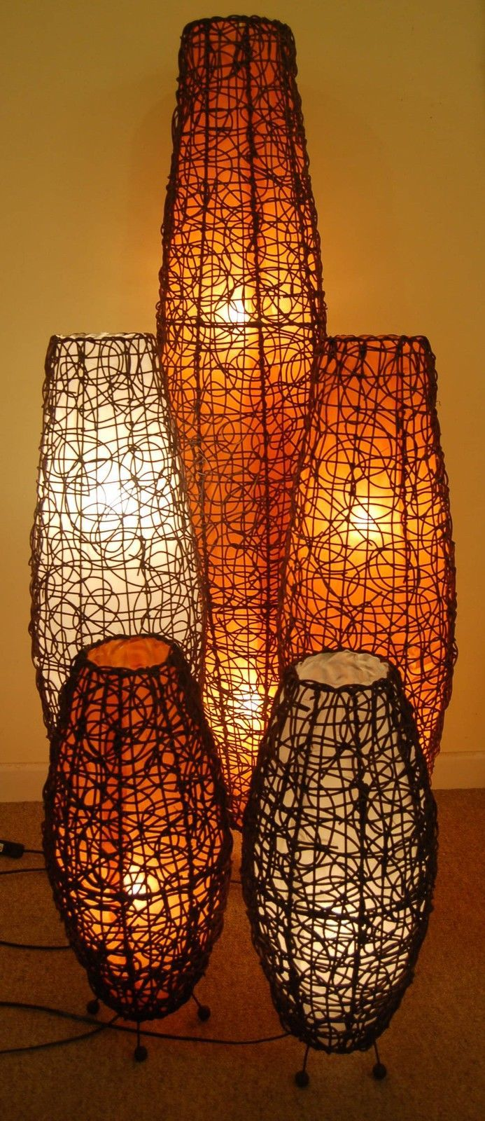 Table Floor Lamp Quot Apollo Quot Lamp With Rattan Handcrafted