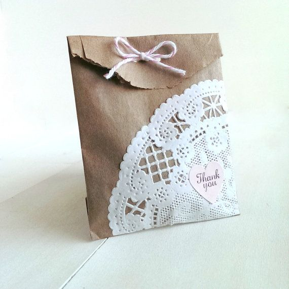 20 Petite favor bags.  These would be so cute for a wedding, bridal or baby shower, tea parties or a little girl's birthday party favors!  Personalize them by choosing your own twine and thank you sticker colors! artesenias.etsy.com