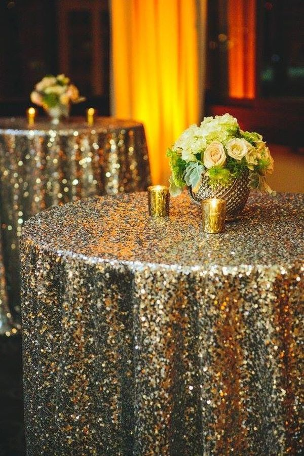 10 Ways To Add Sparkle Shine A New Year S Eve Party Ideas Years Weddings 1920s Gold Tablecloth