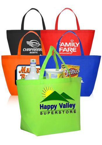 Custom printed non-woven shopper tote bags in assorted colors for promotional events, giveaways and more. Available wholesale - Free Shipping available.