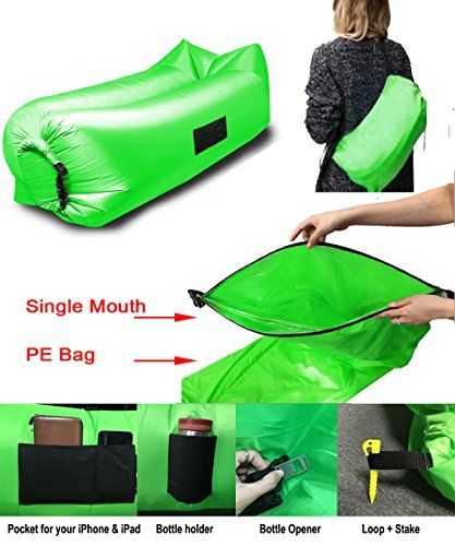 Great Camping Hammock : Inflatable Lounger Couch  Portable Waterproof Air Sofa Bed RIPSTOP Fabric With Bottle Opener Stakes Pockets  Unique Single Opening Design GreenInflatable Lounger Couch  Portable Waterproof Air Sofa Bed RIPSTOP Fabric With Bottle Opener Stakes Pockets  Unique Single Opening Design Green ** Continue to the product at the image link. Note:It is Affiliate Link to Amazon.