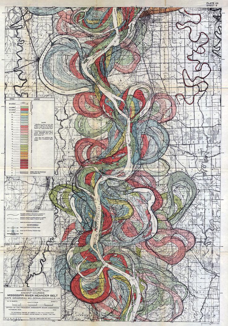 Mississippi Meanders Fisk Studio Inspiration FA Pinterest - Mississippi river delta map