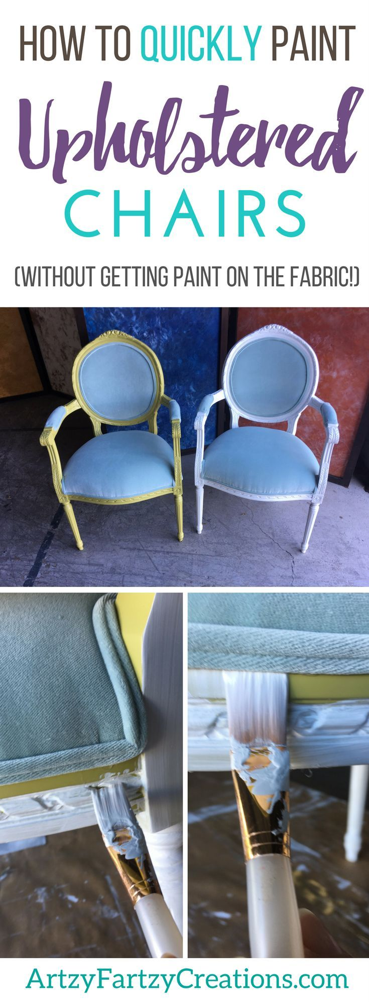 A Quick And Easy Way To Paint Upholstered Chairs Without Removing The Upholstery How To Paint Upholstered Chair Frames Without Getting Paint On The Fabric Cush