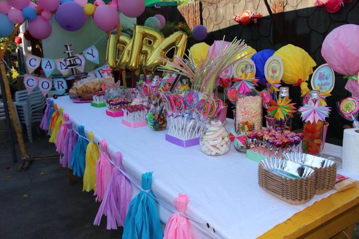 Candy corner set up. Candy stand and treats