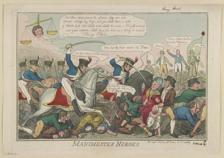 'Manchester Heroes'. Contemporary print showing the Peterloo Massacre, courtesy Library of Congress.