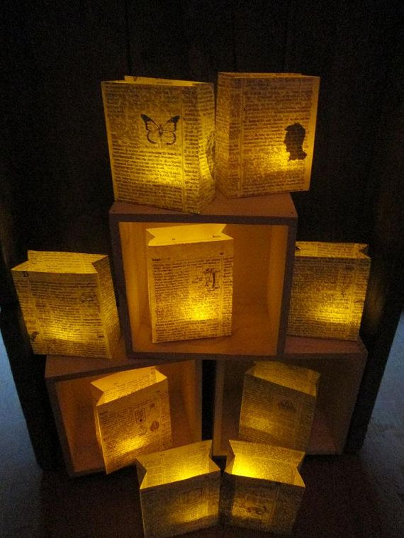 10 Book Luminaries Book Decorations Book Wedding by Oldendesigns, $60.00