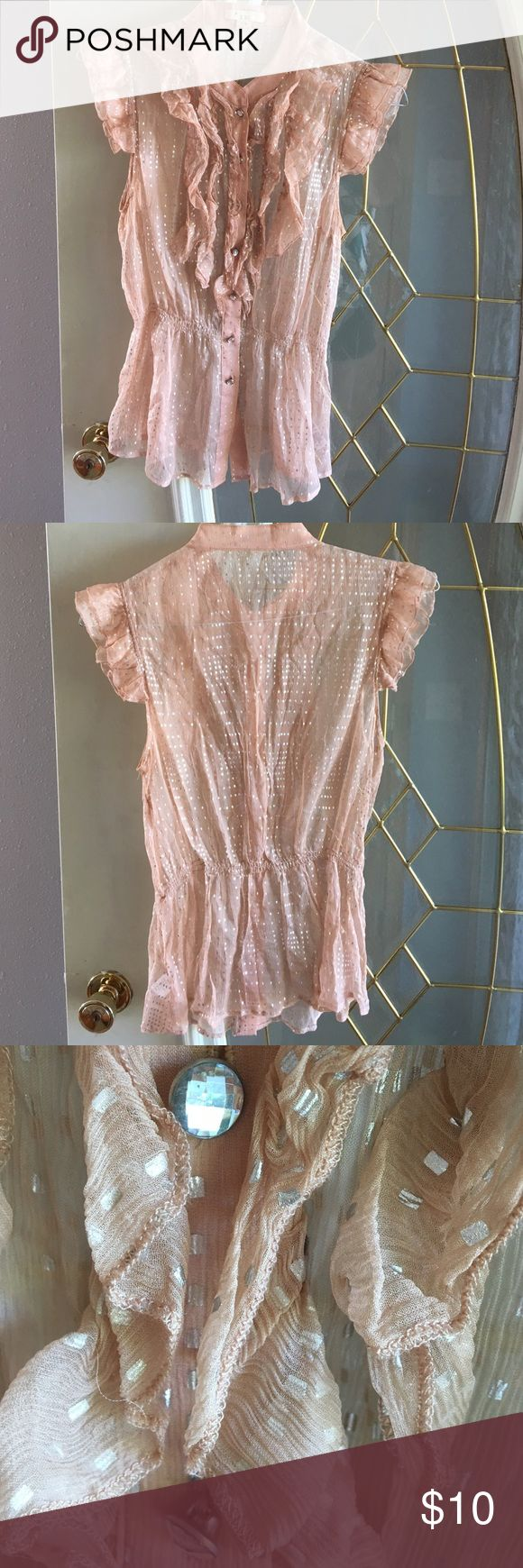 Forever 21/ XXI metallic blouse Sheer and feminine! Soft peach with silver metallic. The buttons are the best! Forever 21 Tops Blouses