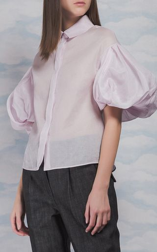 This **Dice Kayek** top features puff styled short sleeves and a collared detail.
