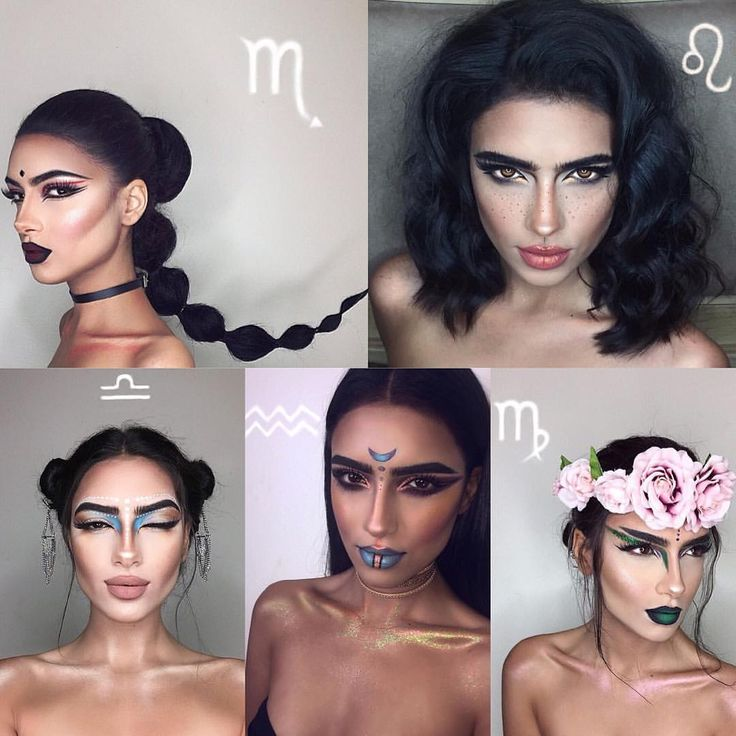 zodiac makeup for Halloween or just to look at the beautiful artwork done by this artist. #Scorpio #Libra #Aquarius #Virgo #Leo