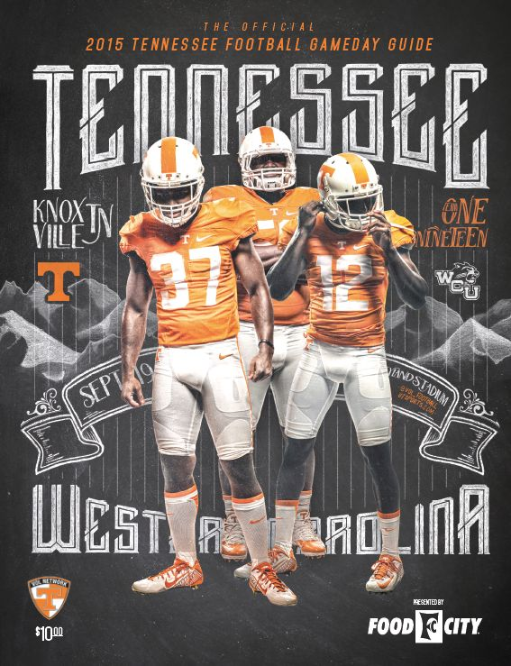 The Official 2015 @UTSports Football Gameday Guide vs. Western Carolina, September 19, 2015 features Brian Randolph, Curt Maggitt and Emmanuel Moseley on the cover. #Vols