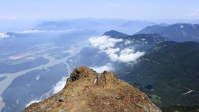 Mount Cheam has one of the most spectacular panoramic views in the Chilliwack area, including views of the Fraser Valley, surrounding peaks, and Mount Baker.
