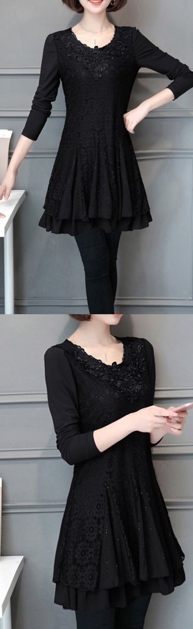 2017 fall warm  black patchwork lace dresses loose slim layered women cute dress