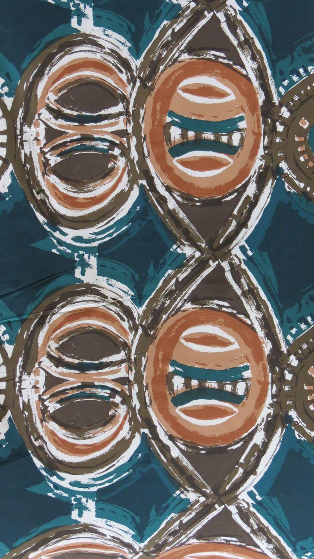 Love flower power daisy graffiti print cotton fabric 60s 70s retro - Hull Traders Totem Fabric By Trevor Coleman 1960 Http Www Decorativemodern