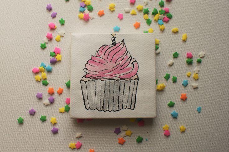 Hand-Painted Mini Canvas / Birthday Cupcake / Custom Birthday Canvas Art by…