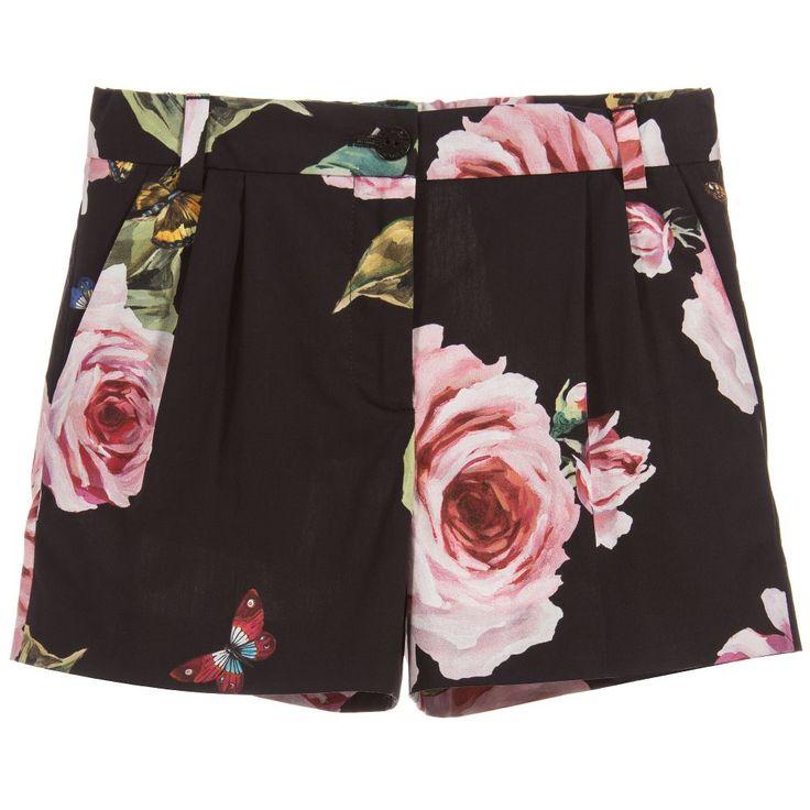 Dolce & Gabbana Black Rose Print Shorts at Childrensalon.com