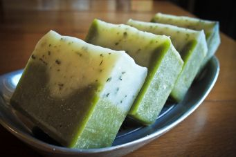 Rosemary Peppermint soap recipe.  This blog post has lots of good instructions for those who are just beginning to make lye soap.