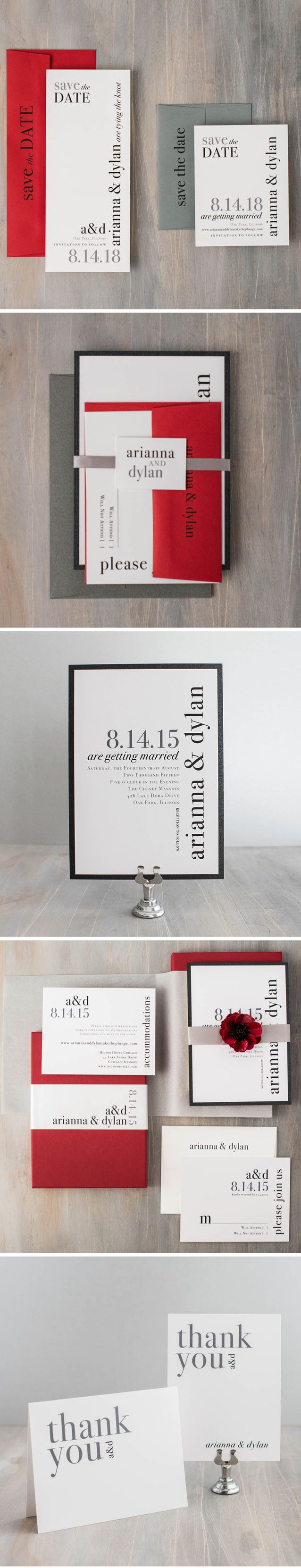 Keep it simple with these typographic inspired modern wedding invitations with black, white & red by Beacon Lane