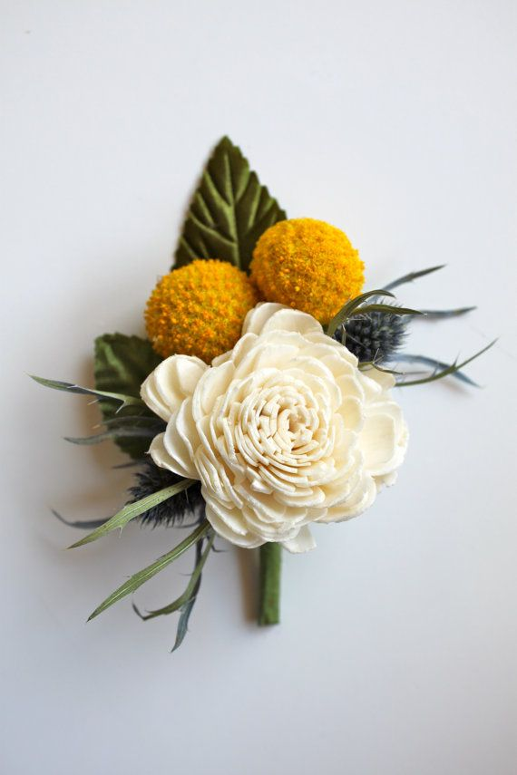 Sola Boutonniere // Billy Button and Thistle by Eucca on Etsy, $13.50