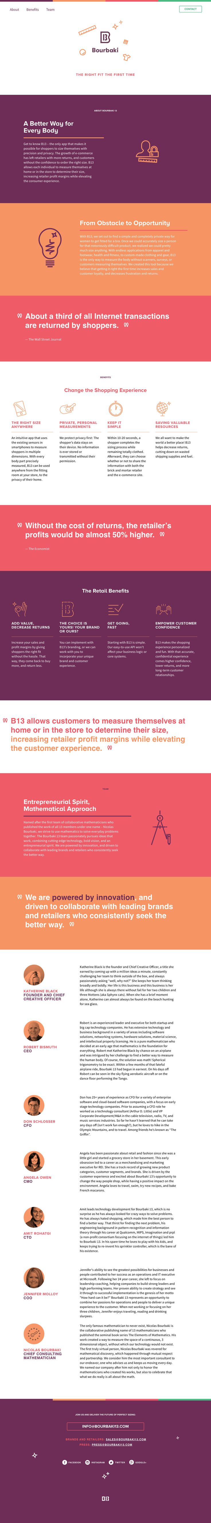 Colorful One Pager for 'Bourbaki 13' - a simple sizing app that aims to accurately (and privately) measure every part of the body for the perfect fit. The responsive Single Page website features good clear typography and icons throughout.