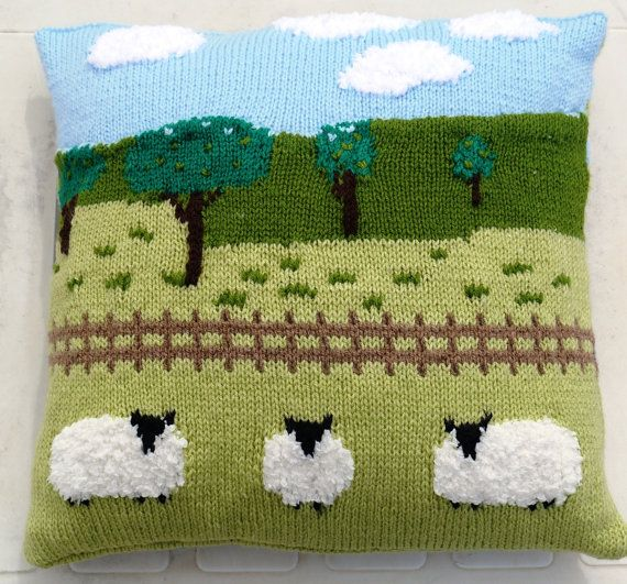 Sheep in the Countryside Cushion Knitting Pattern, Pillow Knitting Pattern with Sheep, Sheep Fields Fence Trees Sky and Clouds Pattern