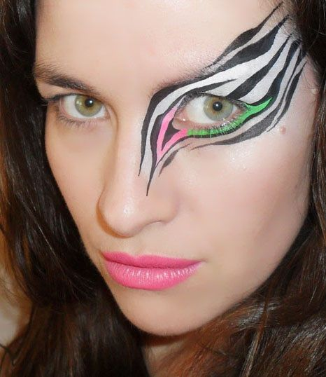 Awesome funky zebra face paint                              …