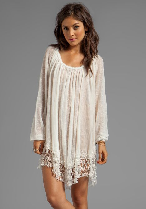 Lace trimmed hem, sheer, shirred neckline... Slip Away Pullover Dress